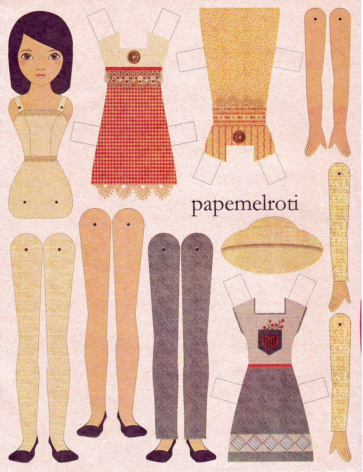 ... paper dolls, I'd choose the latter. Papemelroti paper doll, P15 each